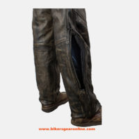 brown leather pants for men cheap
