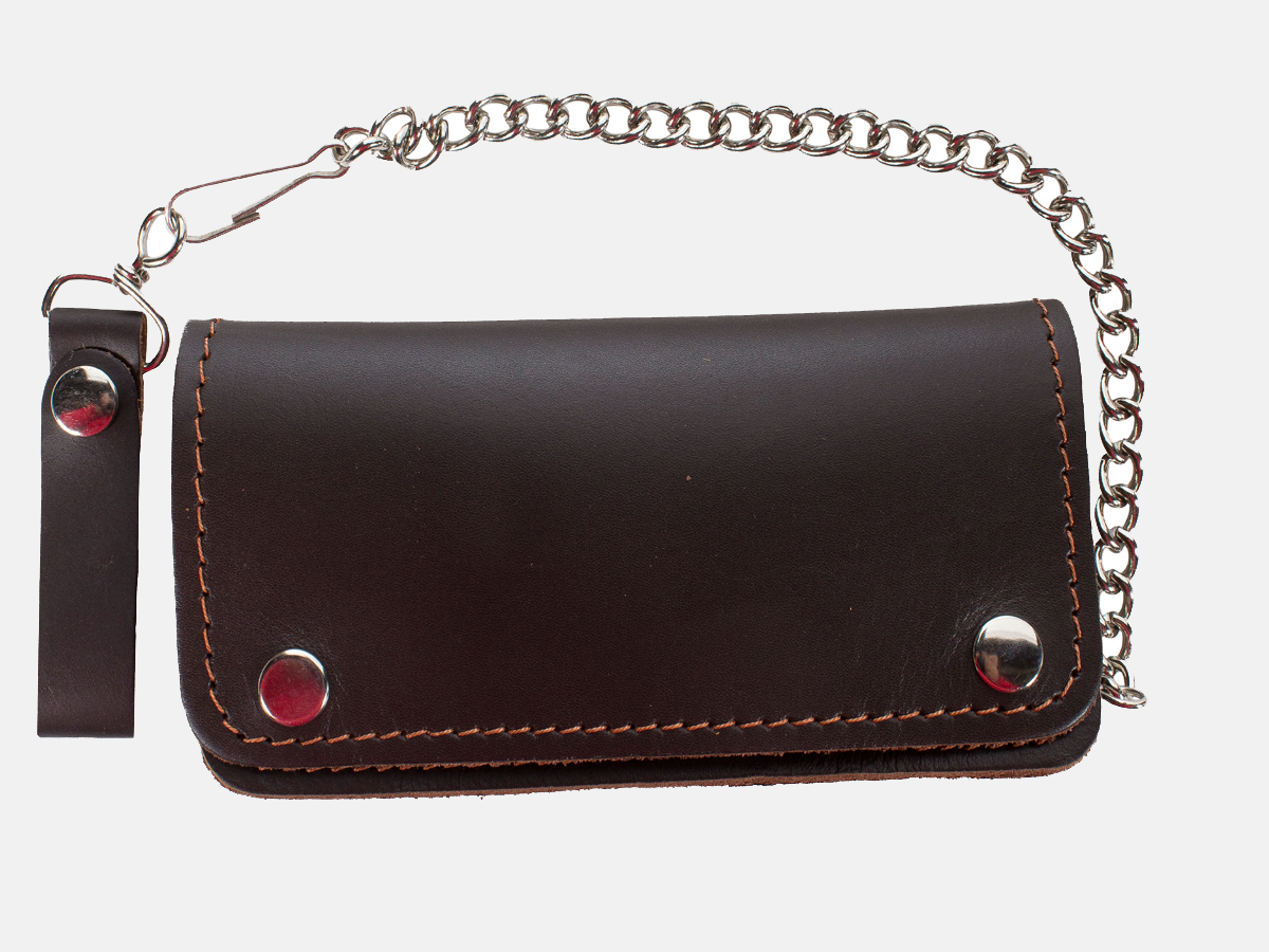 Premium Quality Brown Leather Bifold Motorcycle Chain