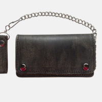 leather biker wallets with chains brown distressed