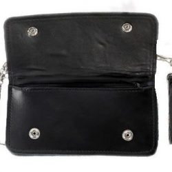 leather chain wallet black