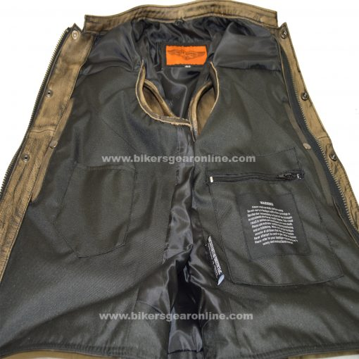 Mens Brown Leather Biker Club Vest