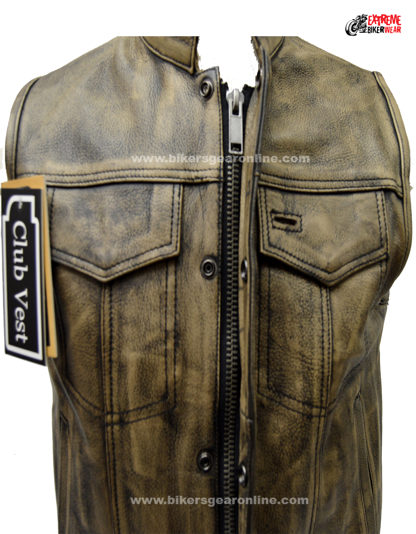 Men's distressed Brown Leather Motorcycle Club Vest - Bikers Gear ...