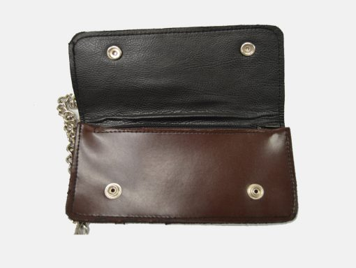 mens wallet with chain brown black