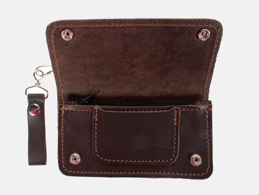 motorcycle chain wallets quality leather brown