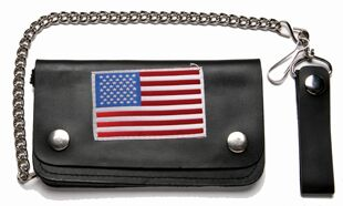 motorcycle Chain wallets USA flag