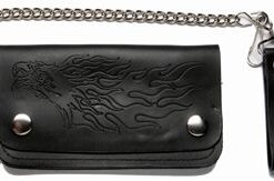 motorcycle wallets Black leather Chain embossed