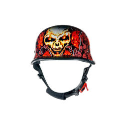 Orange skull motorcycle helmet