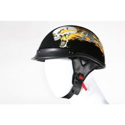 skull dot helmet with Flames