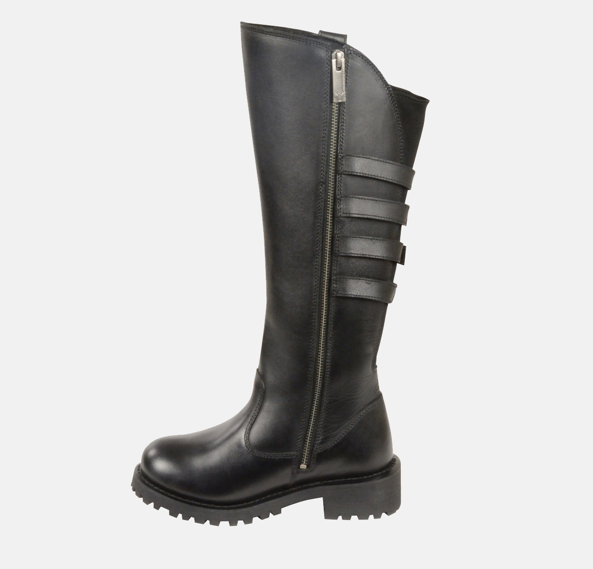 Womens Black Leather Biker Boots