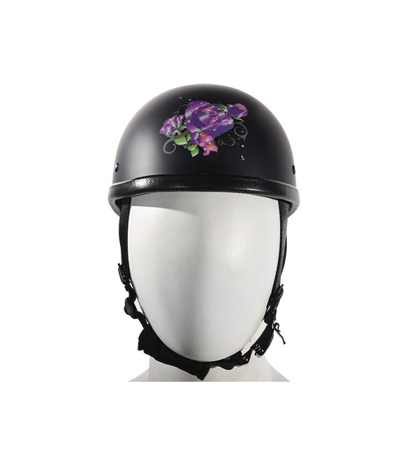 38a70b850c02 Womens Flat Black Novelty Motorcycle Helmet With Purple Rose Design ...