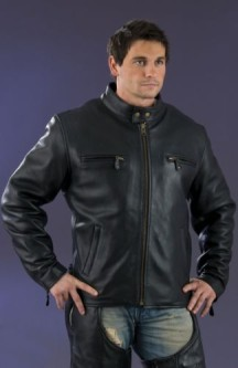 Black Leather jacket zipper sleeve