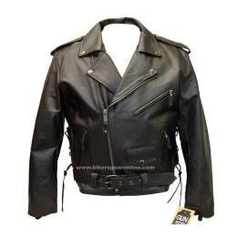 Cowhide Leather Motorcycle Jacket Police