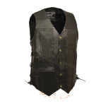 10 POCKETS TALL LENGTH 3″ LONGER BIKERS LEATHER VEST SIDE LACE