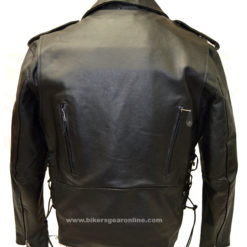 Mens cowhide leather motorcycle jacket lace