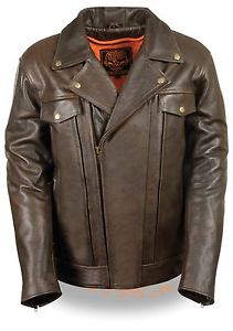 Mens Motorcycle Jacket Brown double pistol