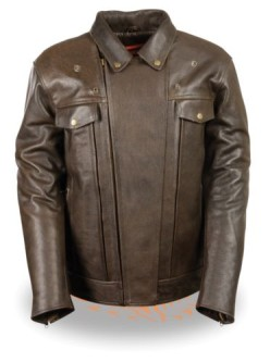 Motorcycle Leather jacket Brown full sleeves