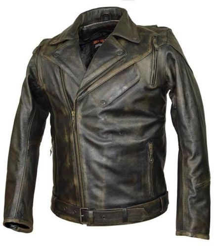 police style leather motorcycle jacket