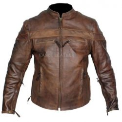 Retro brown leather motorcycle jackets