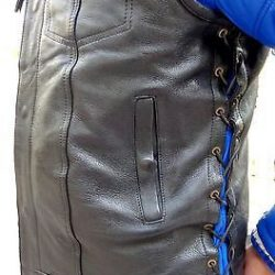 Side Laces Leather Jacket Black