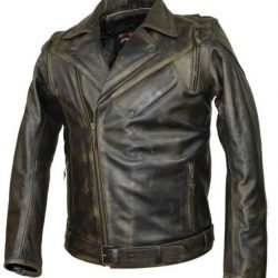 USA police style leather motorcycle jacket