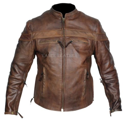 Vintage brown leather motorcycle jackets