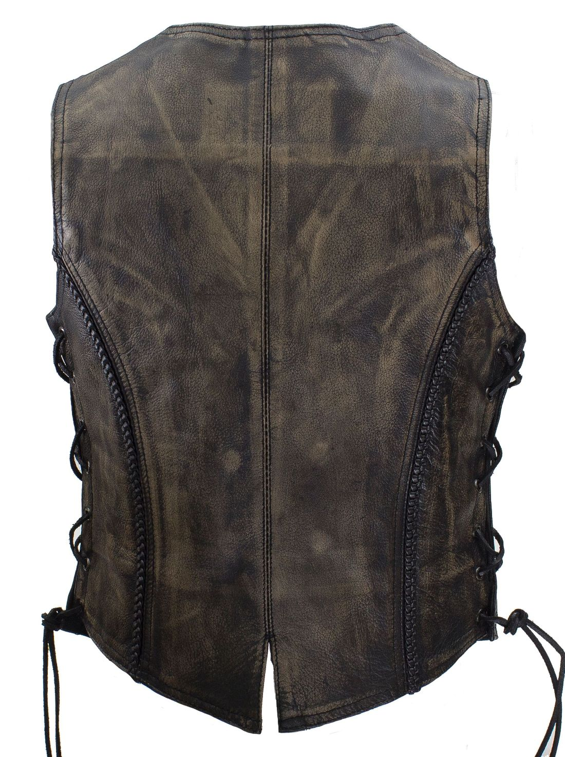 Womens Distressed Brown Leather Jacket Vest