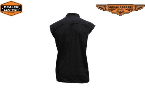 Black Biker Cut Off Cotton T Shirts