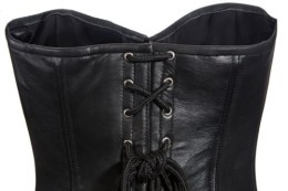 black leather corset top