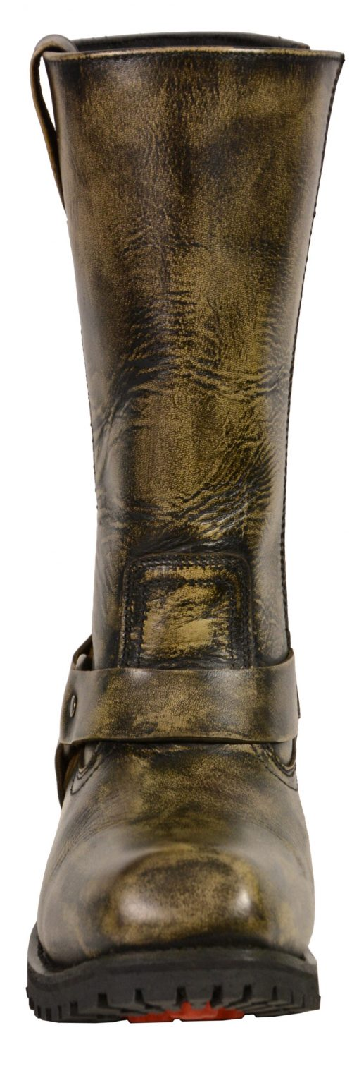 Boots brown distressed leather biker