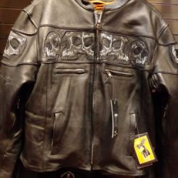 classic leather biker jackets for men with Skulls
