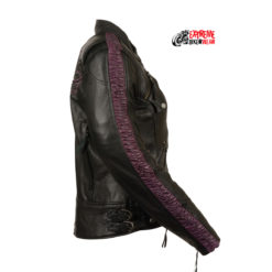 Ladies embroidered leather motorcycle jackets