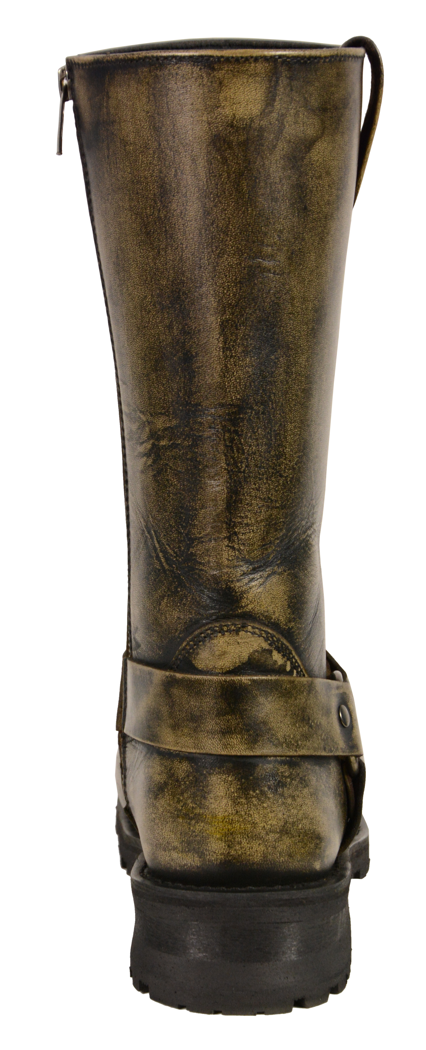 MEN'S MOTORCYCLE GENUINE LEATHER DISTRESSED BROWN 11 INCH BOOT ...