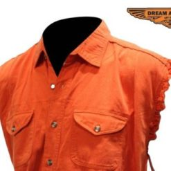 Mens Cotton Biker T shirts Cotton Orange