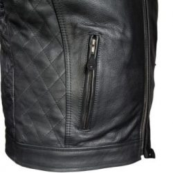 mens leather scooter jacket black