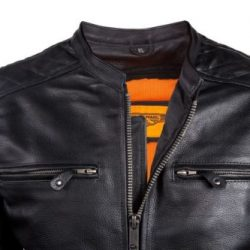Mens Motorbike Leather Vests black