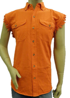 men's orange shirts motorcycle sleeveless