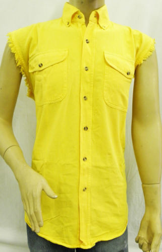 mens sleeveless biker shirts yellow