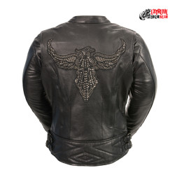 womens black vest embroidered leather