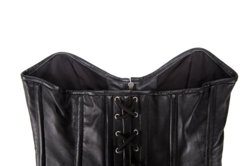 womens sexy motorcycle leather corsets black