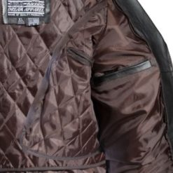 classic mens brown leather jacket inside