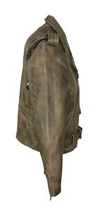 Leather brown vest side view