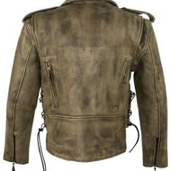 mens brown leather motorcycle jacket for sale