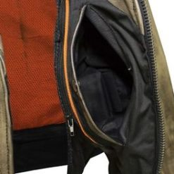 mens brown leather motorcycle Vest for sale