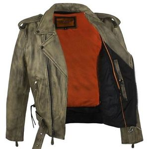 mens leather motorcycle vest brown