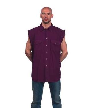 Men 39 s motorcycle burgandy cotton half sleeve cut off shirt for How to cut sleeves off a shirt