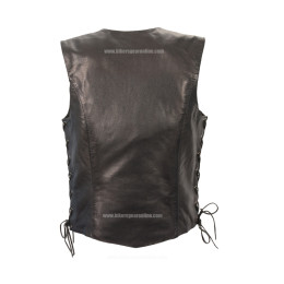 Womens Biker Leather Vest Side lace