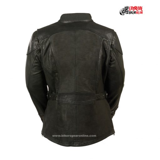 Embossed womens black leather jackets