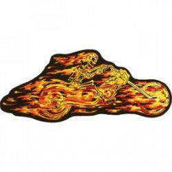 Flaming Skeleton Patches Motorcycle
