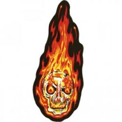 large flaming skull patch