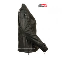 womens black leather jacket embossing
